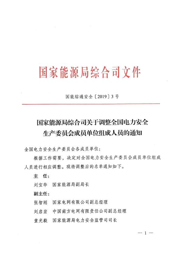 国能综通安全〔2019〕3号《国家能源局综合司关于调整全国电力安全生产委员会成员单位组成人员的通知》1